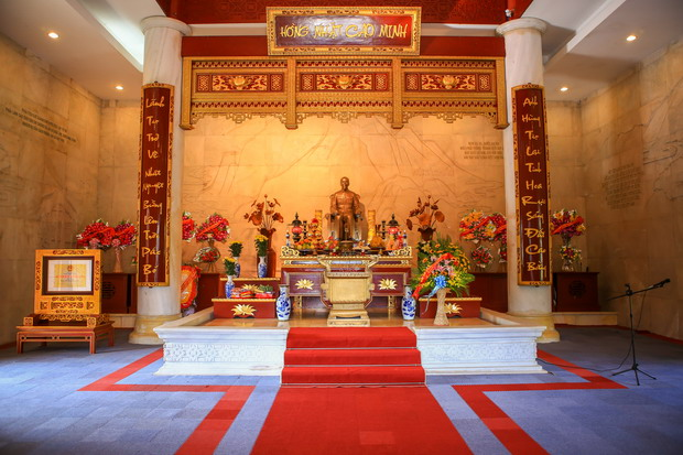 Ho Chi Minh Shrine is built in the Pac Bo complex, where visitors can light incense in his tribute.