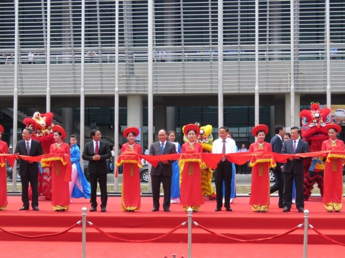 Senior government officials at the inauguration ceremony of Cat Bi International Airport in Hai Phong City on May 12. Photo credit: Giao Thong Online