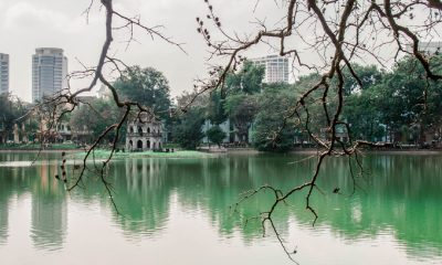Turtle Tower (Thap Rua) standing on a small island near the center of Hoan Kiem Lake is one of Hanoi's tourist attractions. Photo by Quynh Trang