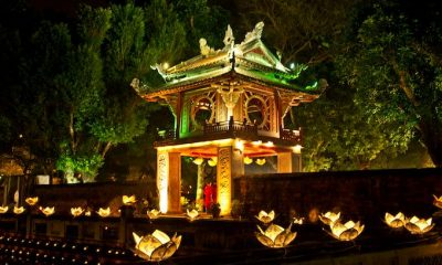 A night scene at the Temple of Literature, a popular destination in Hanoi. Photo by VnExpress/Vu Quang Ngoc
